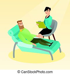 Psychologist having session with patient.