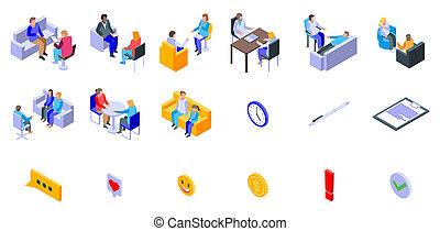 Psychologist icons set, isometric style