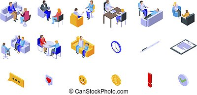 Psychologist icons set, isometric style - Psychologist icons...