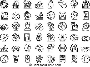 Psychologist icons set, outline style - Psychologist icons ...