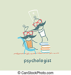 psychologist is on a stack of books and looks inside the patient's head