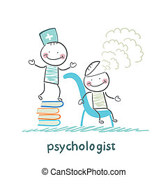 psychologist is on a stack of books and produces steam from the patient's head