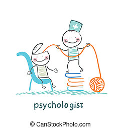 psychologist is on a stack of books and pulls the threads of the patient's head