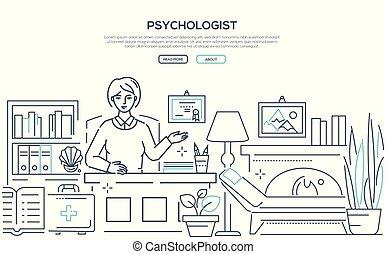 Psychologist - modern line design style web banner on white...