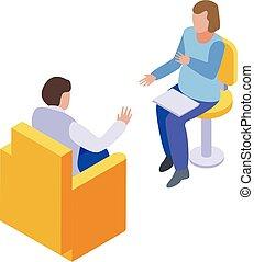 Psychologist session icon, isometric style
