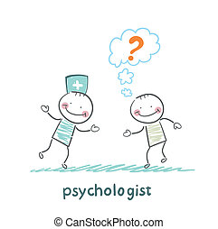 Psychologist talking to a patient who thinks of a question...