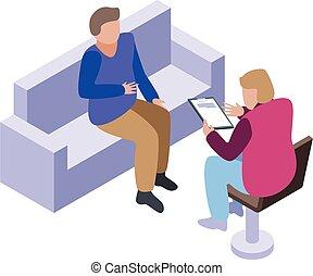Psychologist treatment icon, isometric style