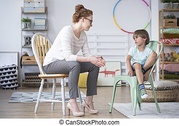 Psychologist with a boy