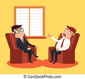 Psychologist with patient. Vector flat cartoon illustration