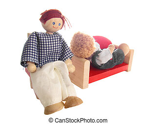 Toy psychotherapy seance isolated over white