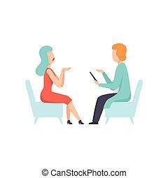 psychologue, conseiller, mental, vecteur, désordre, psychothérapie, problèmes, illustration, femme, psychologique