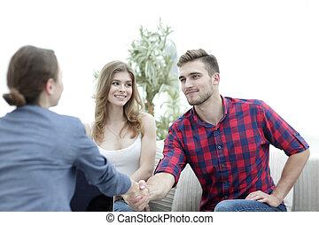 psychologue, début, avant, séance, accueils, client, femme
