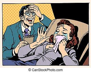 psychologue, femme, rire, larmes