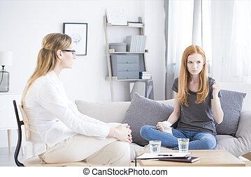 psychologue, girl, écoute, jeune