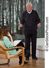 psychologue, patient, elle, écouter
