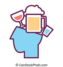 Psychology abstract conceptual symbol of human head and alcohol