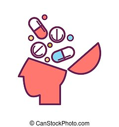 Psychology abstract conceptual symbol of vector human head and pills