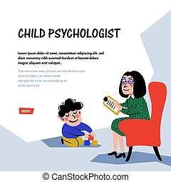 Psychology. Child psychologist. Woman Psychologist tests the child. Preparation for school. Doodle style flat vector illustration