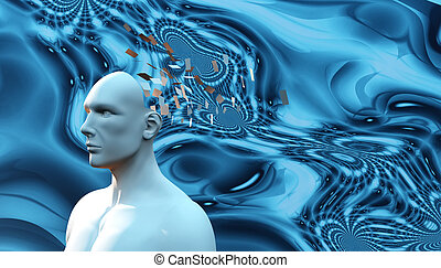 psychology concept, head of a man falling apart