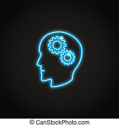 Psychology concept neon icon in line style.