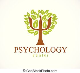 Psychology concept vector logo or icon created with Greek...