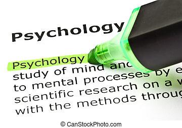 'psychology', hervorgehoben, in, grün