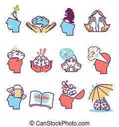 psychology., iconerne, sæt, psykoterapi
