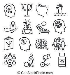 Psychology line icons set on white background