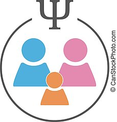 Psychology of family relations logo. Family sign in a circle...