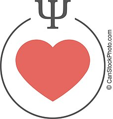 Psychology of Love - Psychology of love logo. Red heart in a...