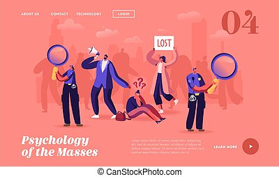 Psychology of Masses Landing Page Template. Big City Social Problem, Human Behavior, Frustration and Fear. Get Lost