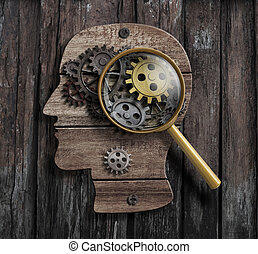 Psychology or invent concept. Brain function model.