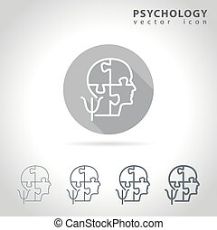 Psychology outline icon set, collection of puzzle head mind ...