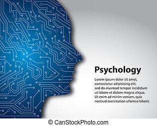 psychology profile over gray background vector illustration