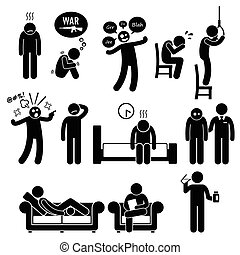 Psychology Psychiatric Mental Ill - A set of pictograms...