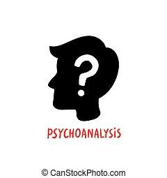 Psychology. Psychoanalysis. Male character silhouette profile with question mark inside. Psychology help concept, therapy, solution of psychological problems. Doodle style flat vector illustration.