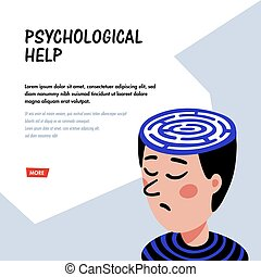Psychology. Psychoanalysis. Man character with maze in head. Psychology help concept, therapy, neurological diseases, solution of psychological problems. Doodle style flat vector illustration.