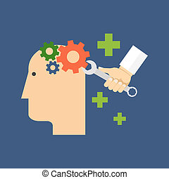 Psychology, psychotherapy, mental healing concept. Flat ...