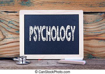 psychology., saúde, concept., chalkboard, ligado, um, madeira, fundo
