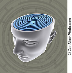 Psychology - The labyrinth inside the head. Concept of...