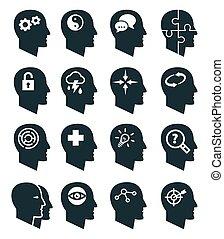 Psychology vector icons set