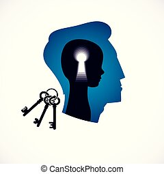 Psychology vector logo created with man head profile and little child boy inside with keyhole, inner child as a key to human individuality and psychic problems concept. Therapy and analysis concept.