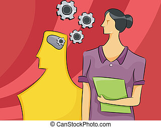 Psychology Woman - Cartoon Illustration of a Woman with a...