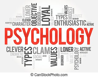 Psychology word cloud collage , social health concept background