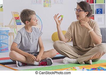 psycholoog, en, jonge patiënt