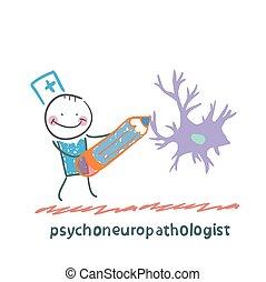 psychoneuropathologist, ideg, ceruza, cellák, csalogat