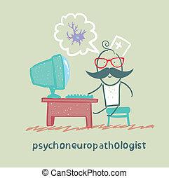 psychoneuropathologist, ideg, számítógép, gondolkodó, őt ül, cellák, workplace
