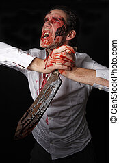 psychopath, com, sangrento, knive