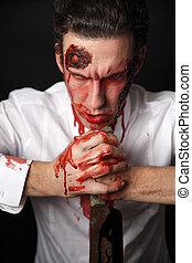 psychopath, knive, sanguinante
