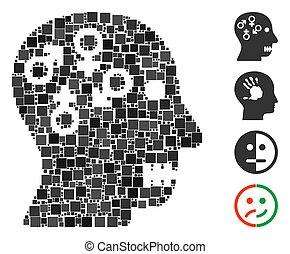 psychosexual, cuadrado, icono, desorden, vector, mosaico